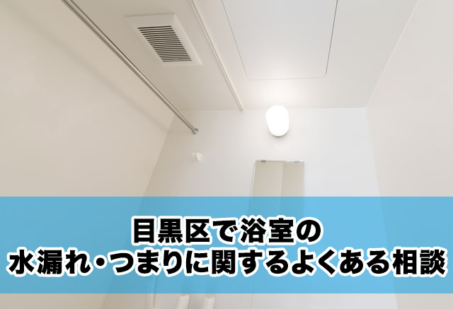 目黒区で浴室の水漏れ・つまりに関するよくある相談